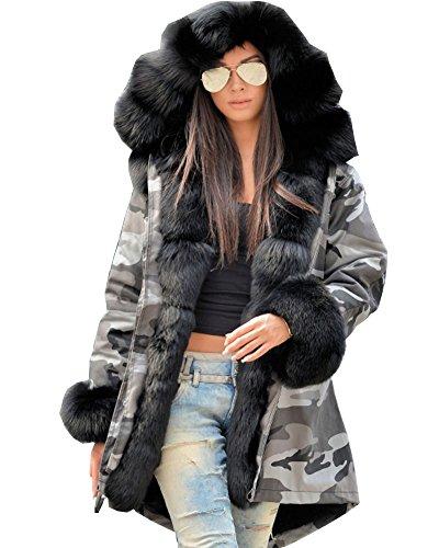 Roiii Women Winter Warm Thick Faux Fur Coat Hood Parka Long Jacket Size 8-20 1