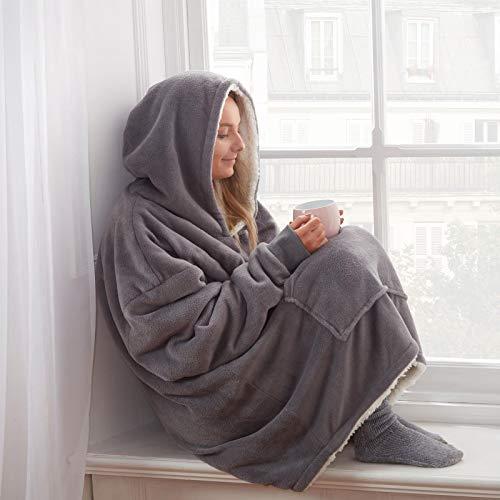 Sienna Hoodie Blanket Oversized Ultra Soft Plush Sherpa Fleece Wearable Warm Throw Blanket Cosy Giant Sweatshirt - Black 3