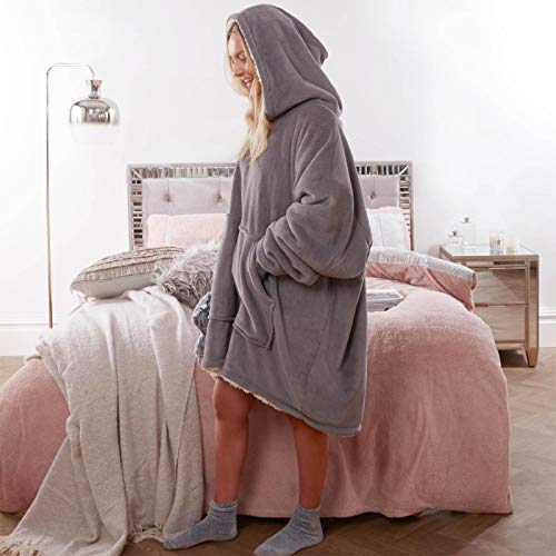 Sienna Hoodie Blanket Oversized Ultra Soft Plush Sherpa Fleece Wearable Warm Throw Blanket Cosy Giant Sweatshirt - Black 4