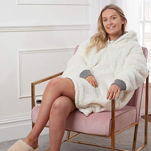 Sienna Hoodie Blanket Oversized Ultra Soft Plush Sherpa Fleece Wearable Warm Throw Blanket Cosy Giant Sweatshirt - Black 5