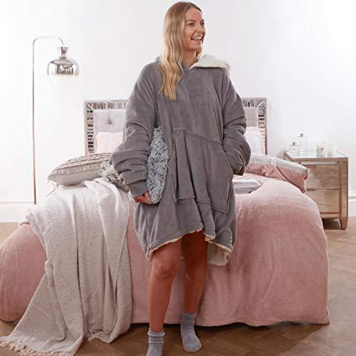 Sienna Hoodie Blanket Oversized Ultra Soft Plush Sherpa Fleece Wearable Warm Throw Blanket Cosy Giant Sweatshirt - Black 6