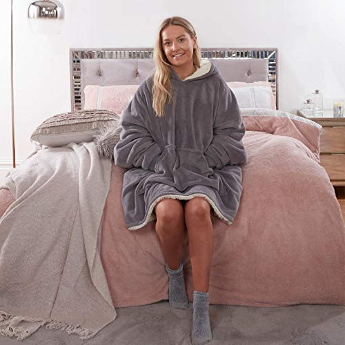 Sienna Hoodie Blanket Oversized Ultra Soft Plush Sherpa Fleece Wearable Warm Throw Blanket Cosy Giant Sweatshirt - Black 7