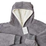 Sienna Hoodie Blanket Oversized Ultra Soft Plush Sherpa Fleece Wearable Warm Throw Blanket Cosy Giant Sweatshirt - Black 23