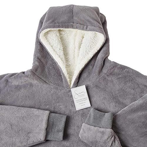 Sienna Hoodie Blanket Oversized Ultra Soft Plush Sherpa Fleece Wearable Warm Throw Blanket Cosy Giant Sweatshirt - Black 8