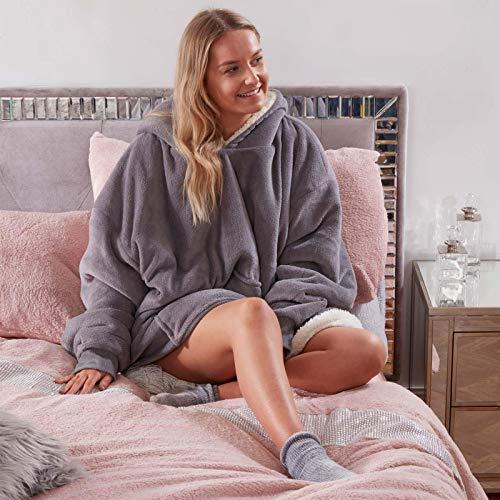 Sienna Hoodie Blanket Oversized Ultra Soft Plush Sherpa Fleece Wearable Warm Throw Blanket Cosy Giant Sweatshirt - Black 1