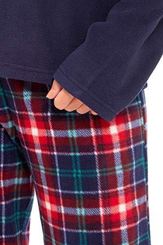 Slumber Hut® Ladies Microfleece Pyjamas Grandad Button Collar Womens Loungewear PJs Pajamas - Grey Navy Blue or Pink… 3