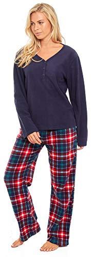 Slumber Hut® Ladies Microfleece Pyjamas Grandad Button Collar Womens Loungewear PJs Pajamas - Grey Navy Blue or Pink… 4