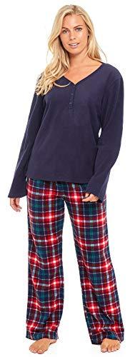 Slumber Hut® Ladies Microfleece Pyjamas Grandad Button Collar Womens Loungewear PJs Pajamas - Grey Navy Blue or Pink… 5