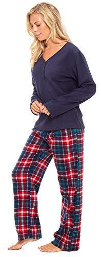 Slumber Hut® Ladies Microfleece Pyjamas Grandad Button Collar Womens Loungewear PJs Pajamas - Grey Navy Blue or Pink… 6