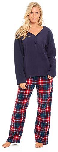 Slumber Hut® Ladies Microfleece Pyjamas Grandad Button Collar Womens Loungewear PJs Pajamas - Grey Navy Blue or Pink… 7