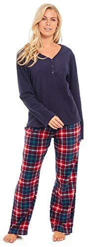 Slumber Hut® Ladies Microfleece Pyjamas Grandad Button Collar Womens Loungewear PJs Pajamas - Grey Navy Blue or Pink… 1
