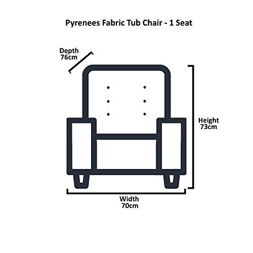 Sofa Collection Pyrenees Fabric Tub Chair (Dark Grey) 3