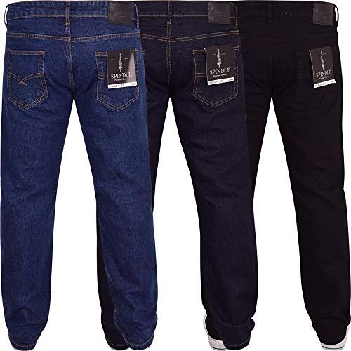 Spindle Mens Heavy Duty Straight Leg Basic Hardwearing 100% Cotton Zip Fly Denim Pants Jeans Sizes 30-48 inch Waist 8