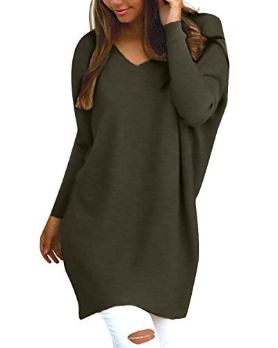 Style Dome Womens Oversized Jumper Dress V Neck Pullover Long Sleeve Knitwear Knit Sweater Plus Size Sweatshirt Tunic… 1