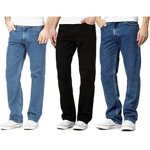 Style Spot Men's Straight Leg Heavy Duty Cotton Jeans Casual Classic Trouser Zip Fly Belt Loop Pant Plain Denim Wash… 4