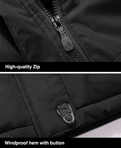 TACVASEN Men's Waterproof Fleece Mountain Jacket Windproof Warm Ski Jacket Multi-Pockets 8