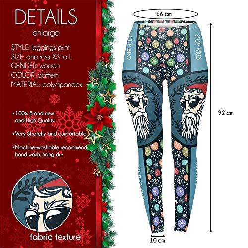 Tamskyt Women's Full Length Christmas Winter Snowflake Santa Reindeer Stocking-Filler Yoga Leggings Gym Fitness Running… 6