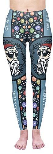 Tamskyt Women's Full Length Christmas Winter Snowflake Santa Reindeer Stocking-Filler Yoga Leggings Gym Fitness Running… 1