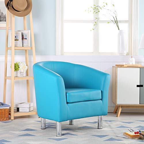 The Home Garden Store Camden Leather Tub Chair Armchair Dining Living Room Office Reception Hotel (Aqua Blue) 3