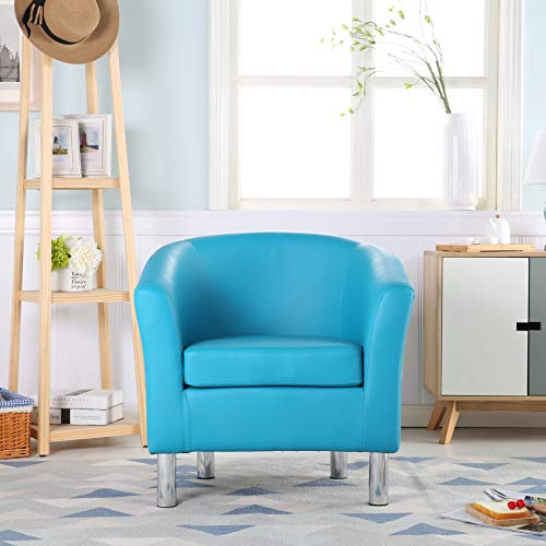 The Home Garden Store Camden Leather Tub Chair Armchair Dining Living Room Office Reception Hotel (Aqua Blue) 4