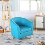 The Home Garden Store Camden Leather Tub Chair Armchair Dining Living Room Office Reception Hotel (Aqua Blue) 22