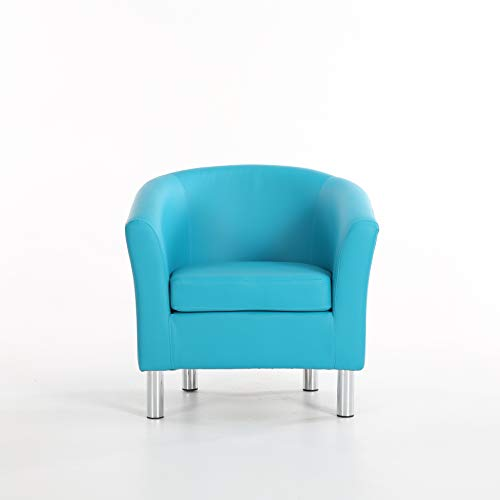 The Home Garden Store Camden Leather Tub Chair Armchair Dining Living Room Office Reception Hotel (Aqua Blue) 6