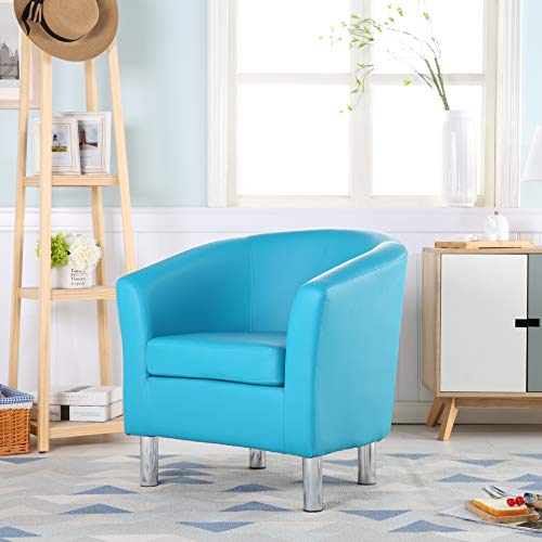 The Home Garden Store Camden Leather Tub Chair Armchair Dining Living Room Office Reception Hotel (Aqua Blue) 7