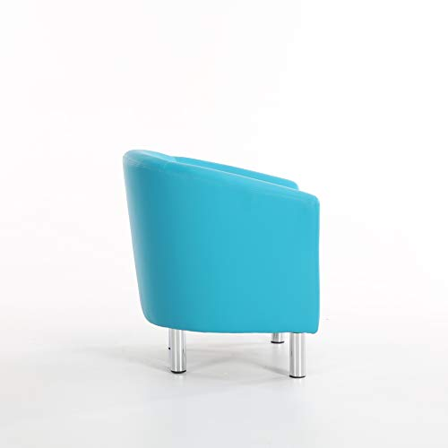 The Home Garden Store Camden Leather Tub Chair Armchair Dining Living Room Office Reception Hotel (Aqua Blue) 8