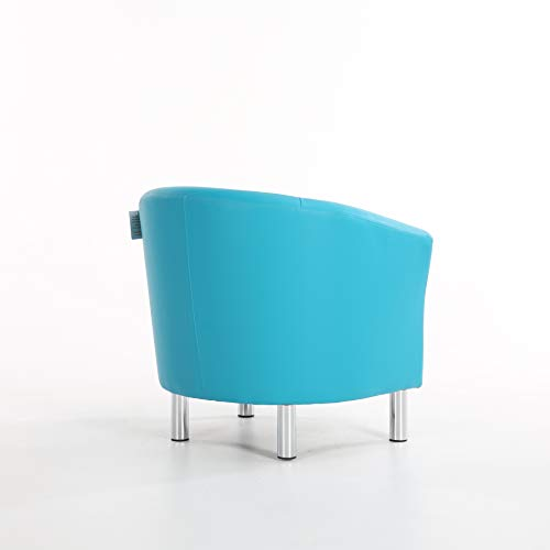 The Home Garden Store Camden Leather Tub Chair Armchair Dining Living Room Office Reception Hotel (Aqua Blue) 9