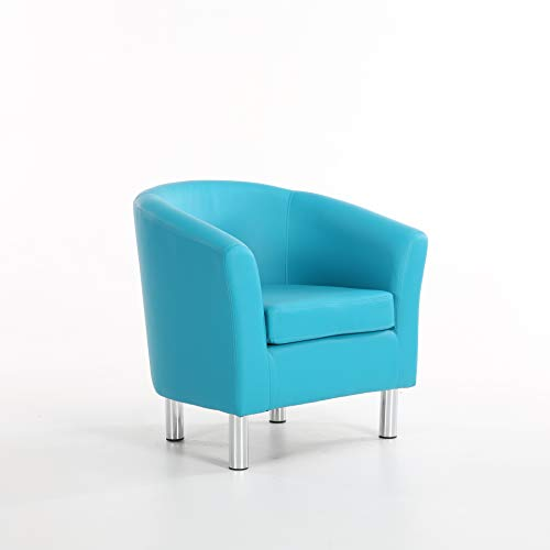 The Home Garden Store Camden Leather Tub Chair Armchair Dining Living Room Office Reception Hotel (Aqua Blue) 1