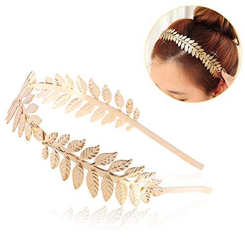 Toyvian Roman Goddess Leaf Branch Dainty Bridal Hair Crown Head Dress Boho Alice Band (Gold) 4