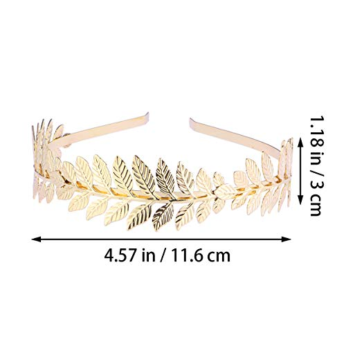 Toyvian Roman Goddess Leaf Branch Dainty Bridal Hair Crown Head Dress Boho Alice Band (Gold) 5