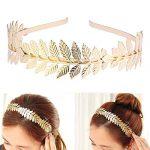 Toyvian Roman Goddess Leaf Branch Dainty Bridal Hair Crown Head Dress Boho Alice Band (Gold) 21
