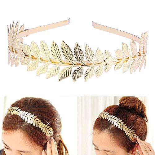 Toyvian Roman Goddess Leaf Branch Dainty Bridal Hair Crown Head Dress Boho Alice Band (Gold) 6
