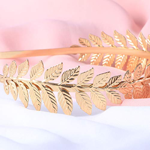 Toyvian Roman Goddess Leaf Branch Dainty Bridal Hair Crown Head Dress Boho Alice Band (Gold) 7