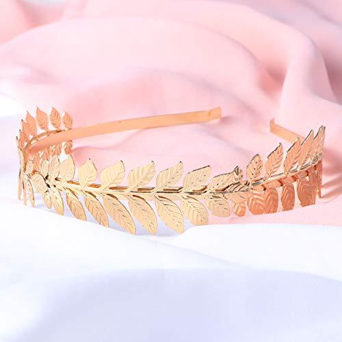 Toyvian Roman Goddess Leaf Branch Dainty Bridal Hair Crown Head Dress Boho Alice Band (Gold) 8