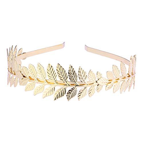 Toyvian Roman Goddess Leaf Branch Dainty Bridal Hair Crown Head Dress Boho Alice Band (Gold) 1