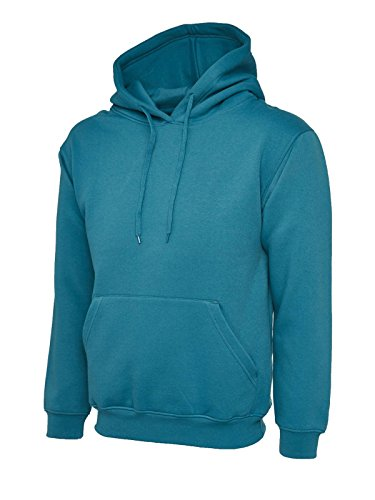 Uneek Mens Classic Plain Pullover Hooded Sweatshirt Hoodie Sweater (22 Colours) 1