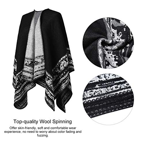 VBIGER Women Winter Poncho Oversized Warm Blanket Cape Wraps Shawl Cardigans 3
