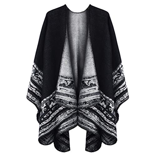 VBIGER Women Winter Poncho Oversized Warm Blanket Cape Wraps Shawl Cardigans 1