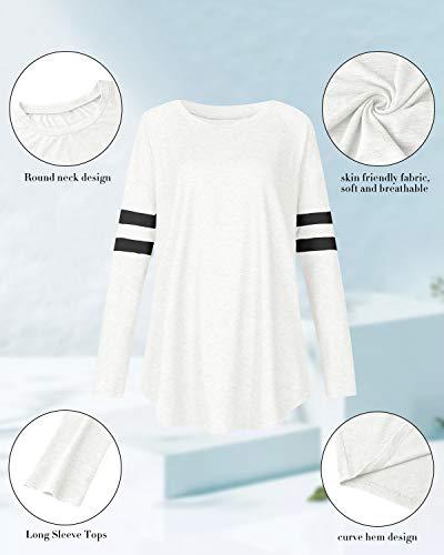 VONDA Womens T Shirt Long/Short Sleeve Ladies Tops Summer Baseball Shirts Crew Neck Top Blouse 3