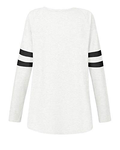 VONDA Womens T Shirt Long/Short Sleeve Ladies Tops Summer Baseball Shirts Crew Neck Top Blouse 8