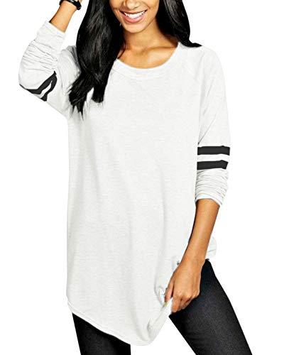VONDA Womens T Shirt Long/Short Sleeve Ladies Tops Summer Baseball Shirts Crew Neck Top Blouse 1