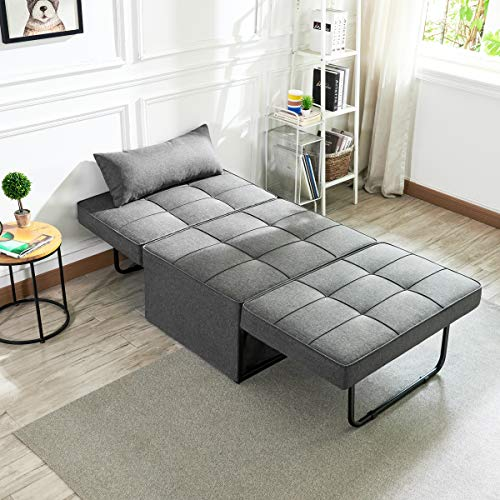 Vonanda Ottoman Sleeper Chair Bed,Mid-Century Soft Tufted Velvet Folding Sofa Bed with Unique Sense of Gloss,Convertible… 3