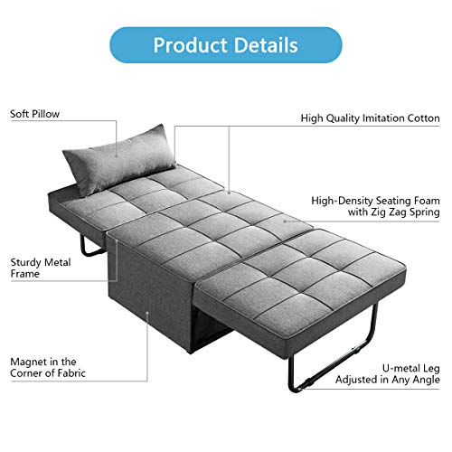 Vonanda Ottoman Sleeper Chair Bed,Mid-Century Soft Tufted Velvet Folding Sofa Bed with Unique Sense of Gloss,Convertible… 5