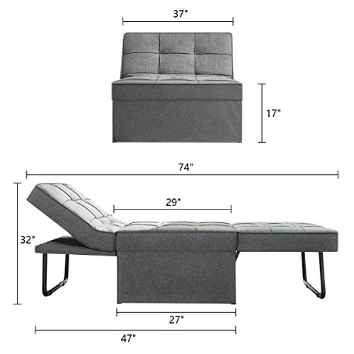 Vonanda Ottoman Sleeper Chair Bed,Mid-Century Soft Tufted Velvet Folding Sofa Bed with Unique Sense of Gloss,Convertible… 6