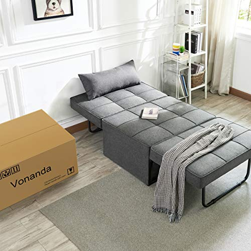 Vonanda Ottoman Sleeper Chair Bed,Mid-Century Soft Tufted Velvet Folding Sofa Bed with Unique Sense of Gloss,Convertible… 7