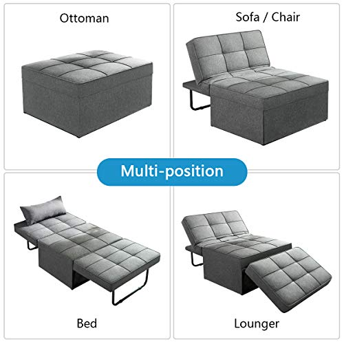 Vonanda Ottoman Sleeper Chair Bed,Mid-Century Soft Tufted Velvet Folding Sofa Bed with Unique Sense of Gloss,Convertible… 8