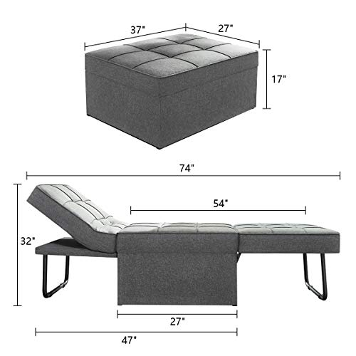 Vonanda Ottoman Sleeper Chair Bed,Mid-Century Soft Tufted Velvet Folding Sofa Bed with Unique Sense of Gloss,Convertible… 9