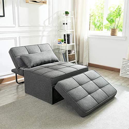 Vonanda Ottoman Sleeper Chair Bed,Mid-Century Soft Tufted Velvet Folding Sofa Bed with Unique Sense of Gloss,Convertible… 1